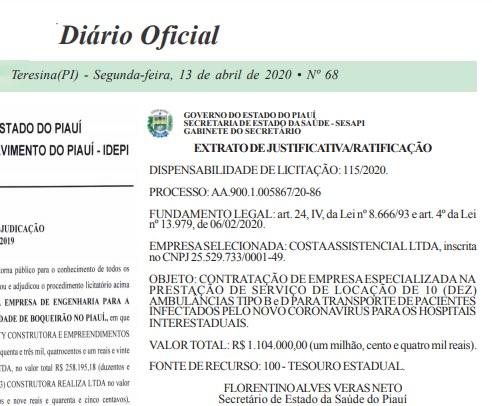 Contratos sem licitação de aluguel e compra de ambulâncias no Piauí sãopermitidos?