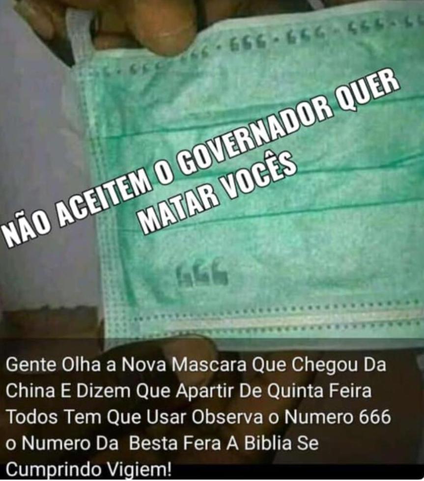 Máscaras do Piauí com número 666 não estãoinfectadas