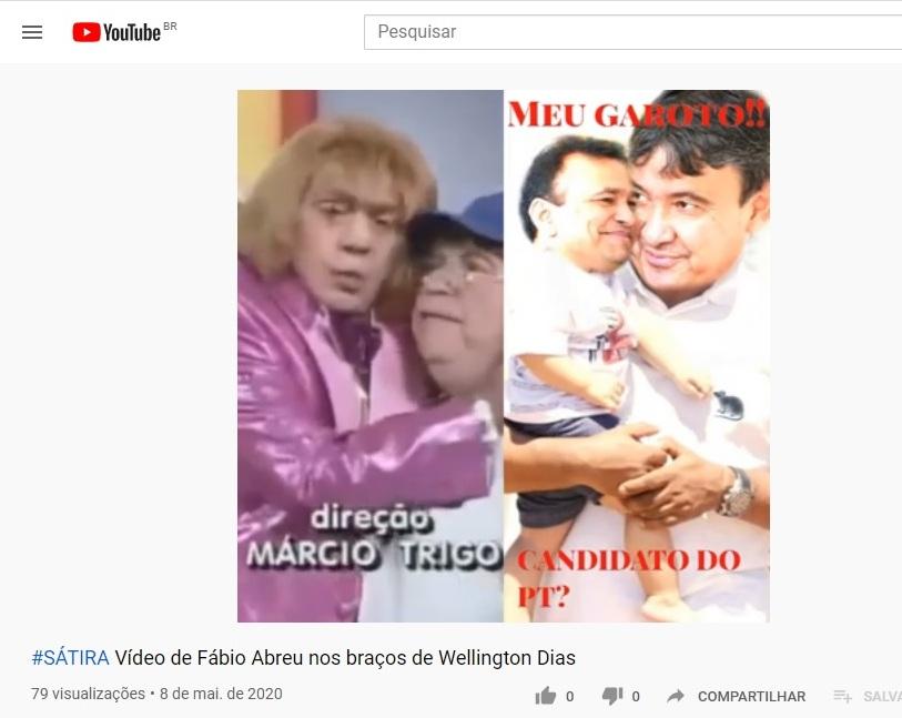 """Vídeo satírico com imagem de Fábio Abreu """"carregado"""" nos braços dogovernador"""