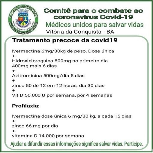 Prefeitura de Vitória da Conquista usa protocolo com lista de remédios profiláticos contra aCovid-19?