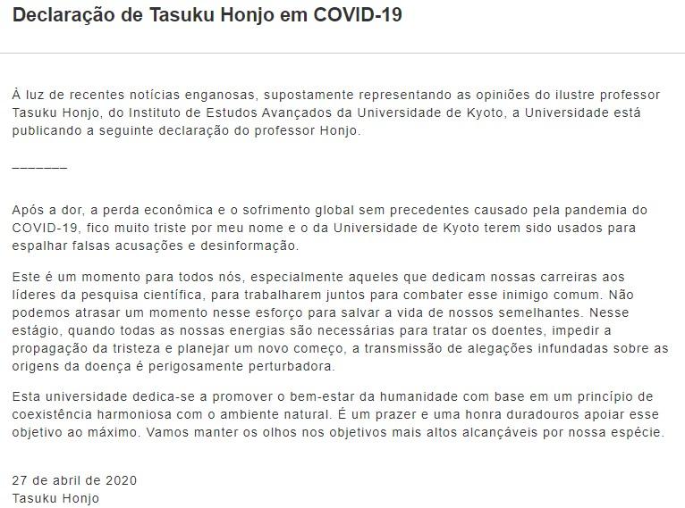 FALSA declaração do prêmio Nobel de Medicina Tasuku Honjo de que coronavírus foi criado emlaboratório