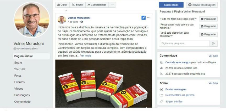 Tratamento retal anunciado pelo prefeito de Itajaí não éeficaz