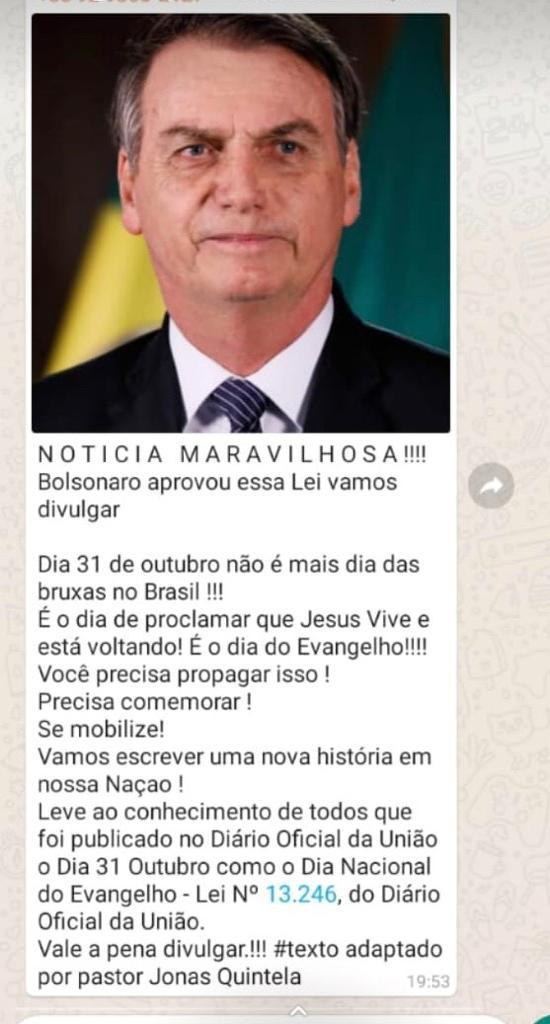 Presidente Jair Bolsonaro sancionou  lei que substitui no calendário nacional Dia das Bruxas pelo Dia doEvangelho?