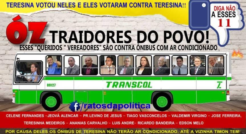 COAMOS: Imagem indica 12 vereadores de Teresina que votaram contra PL de climatização dosônibus