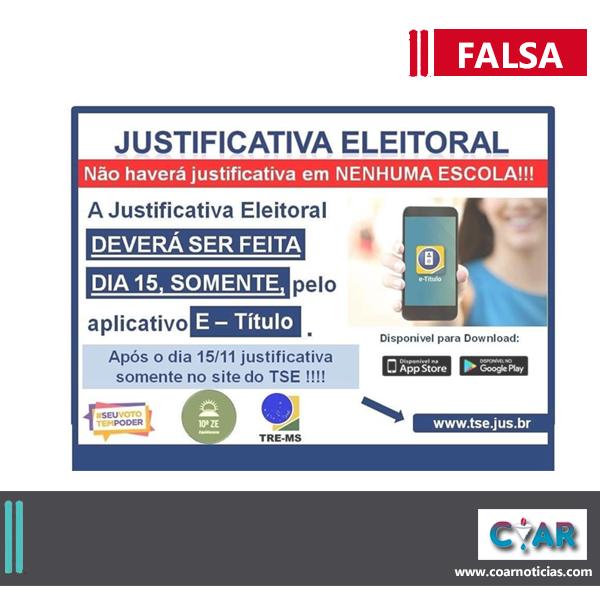 ELEIÇÕES: CONTEÚDO informa que eleitor não poderá justificar no aplicativo E-título após dia da votação. Tal informação nãoprocede