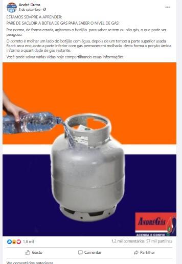BOATO: Não é correto molhar lado do botijão com água para conferirvolume