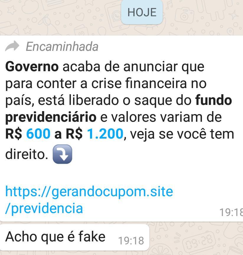 COAMOS: Governo anuncia liberação de fundo previdenciário nos valores de R$ 600 a R$1.200?