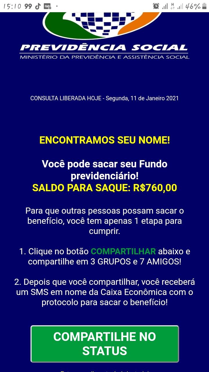 FUNDO PREVIDENCIÁRIO: Caixa Econômica está informando saque de R$  760 através deSMS?