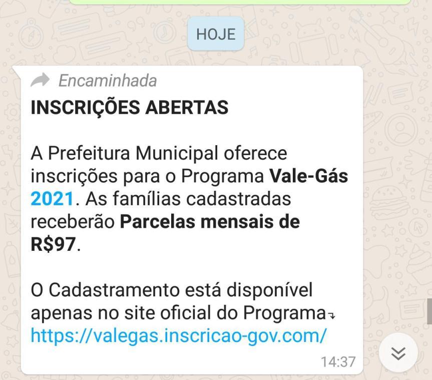 Prefeitura Municipal oferece inscrições para Vale-Gás2021?