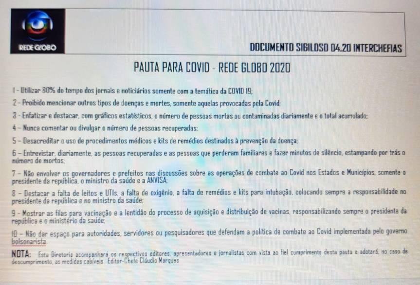 REDE GLOBO: Documento sigiloso 2020 revela diretrizes de pautas sobre Covid-19 para atingir atualgoverno?