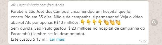 COAMOS: Hospital é construído em 35 dias em São José dosCampos?