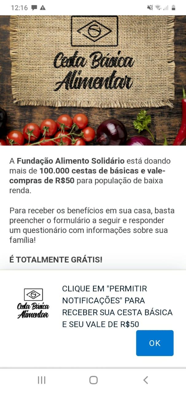 Fundação Alimento Solidário está doando cestas básicas e vale-compras de R$ 50reais?