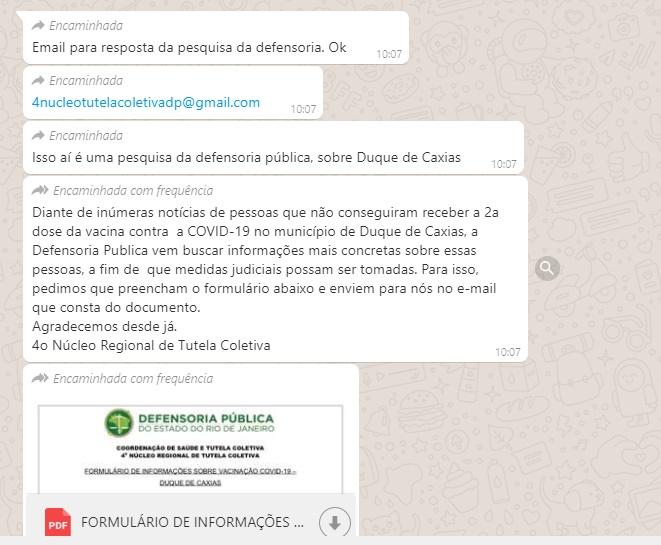 Pesquisa da Defensoria Pública do Rio de Janeiro sobre vacinação em Duque de Caxias éverdadeira?