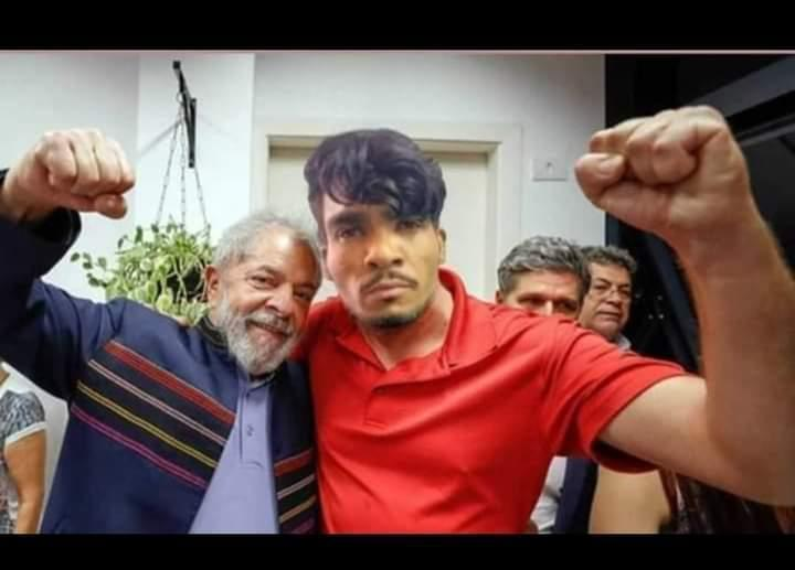 Sátira: Imagem do criminoso Lázaro Barbosa de Sousa com Lula é divulgada em grupos deWhatsApp