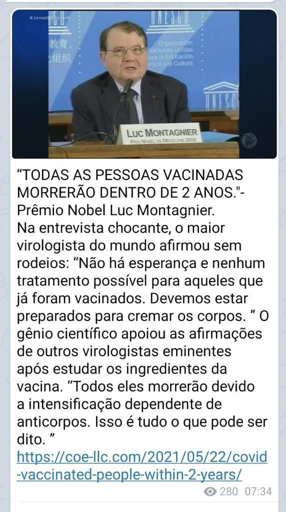Prêmio Nobel de Medicina declarou que vacinados contra a Covid-19 irão morrer em doisanos?